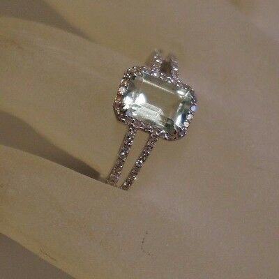 Emerald Cut Natural Aquamarine And Diamond Ring 14k White Gold 2.10 DWT Size 7