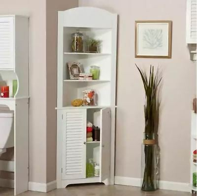 Corner Cabinet Small Bathroom Shelves Storage Organizer Tall Kitchen Hutch White ()