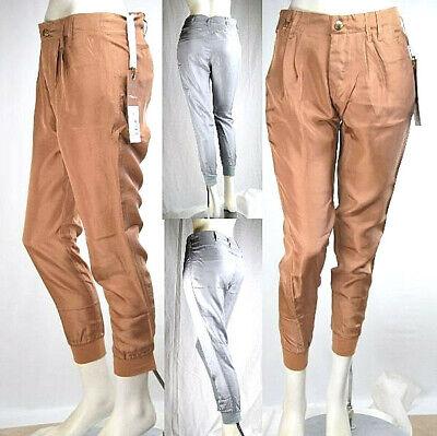 Pantaloni Donna in Seta MET C264 Marrone Grigio Tg 26 27 28 29 veste grande