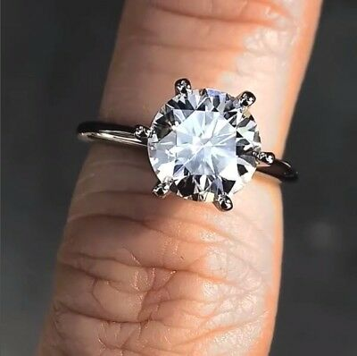 2.50 Ct Brilliant Moissanite Solitaire Ring Engagement Ring Solid 14k White Gold