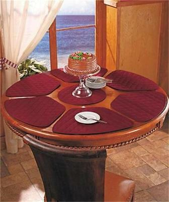 Red Round Placemats (7-PC ROUND DINING KITCHEN TABLE WEDGE-SHAPED PLACE MAT SET BURGUNDY GREEN OR)