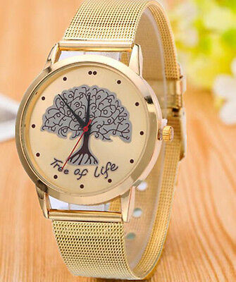 Women Stainless Steel Watch Luxury Tree Pattern Analog Quartz Dress Wrist Watch