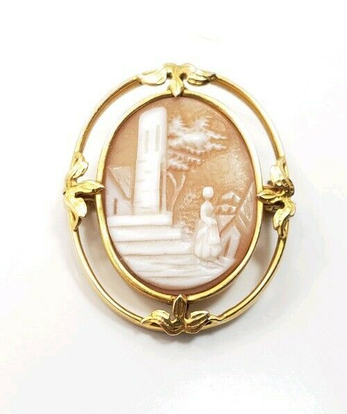 Great Vintage Art Deco 14k Yellow Gold Landscape Cameo Pin Brooch Pendant