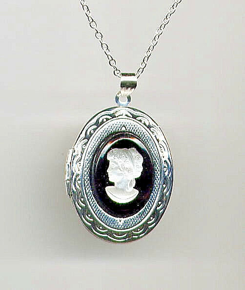 LADY CAMEO WHITE MOONSTONE FIRE OPAL LOCKET Urn Necklace *St