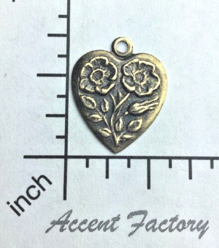12383          6 Pc  Brass Oxidized Heart Charm Finding