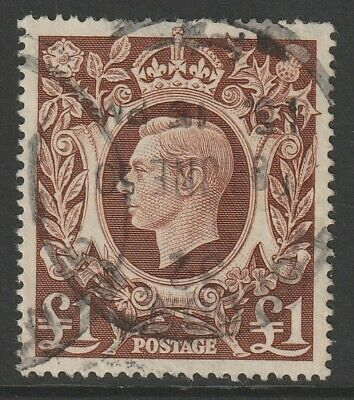 1939 KGVI ARMS £1 BROWN HIGH VALUE SG478c USED