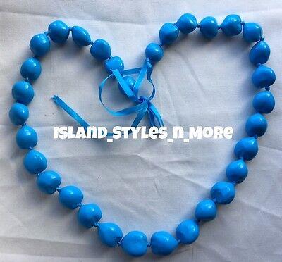 Hawaii Wedding Kukui Nut Lei Graduation Luau Hula Necklace SOLID LIGHT BLUE NWT