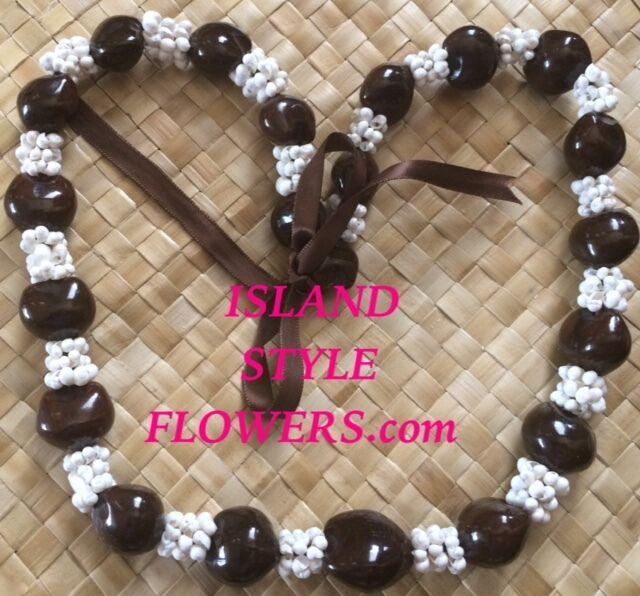 Hawaii Wedding BROWN Kukui Nut White Mongo Lei Graduation Luau Hula Necklace