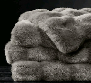 Ruched Faux Fur throw - fog - by Restoration Hardware