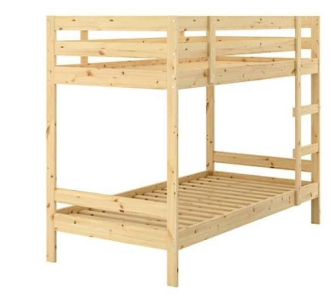 Ikea Wooden Bunk Beds With 2 X Ikea Mattresses Collect From Canton