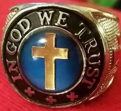 Sterling Silver Sf Men Gold 11 12 Cross Crucifix Rosary Ring In God We Trust New