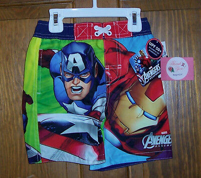 Avengers Iron Man Captain America Swim Bathing Suit Trunks Shorts Boys 3T