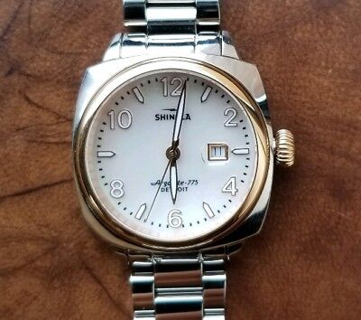 Shinola Brakeman Watch 32mm White Perl face with Rose Gold trim &Silver Breclet