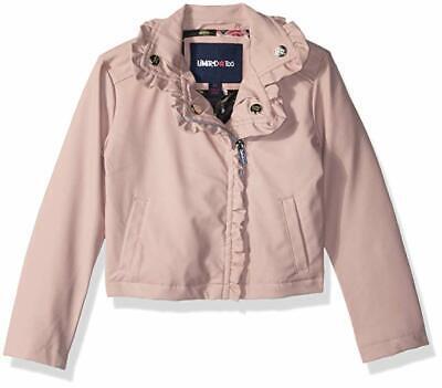 Toddler Girls Vegan Leather Moto Jacket w Ruffleso BLUSH Limited Too Girls [] - Girls Moto Jacket