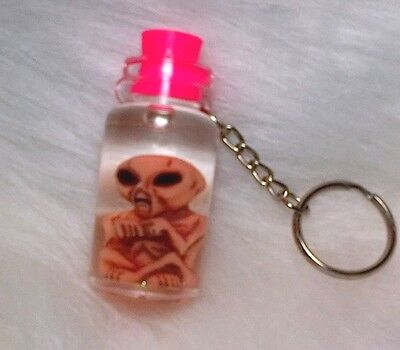 """Alien in a Bottle Key Chain with pink top 2 1/4"""""""