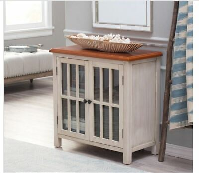 Glass 2 Door Cabinet Accent Antique White Wood Curio Buffet Table Rustic Hall    ()