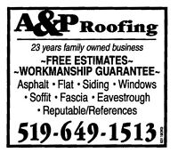 A&P Roofing & Siding ***519-649-1513***