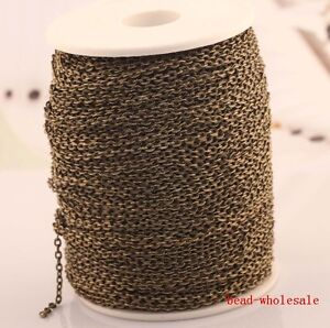 10m/100m silver /gold plated cable open link iron metal chain findings 4 colors