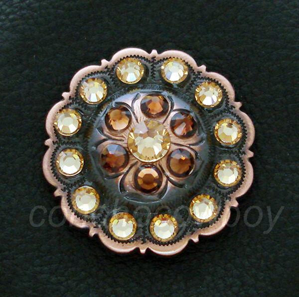 Western Copper Flower Crystal Rhinestone Concho Screw Back