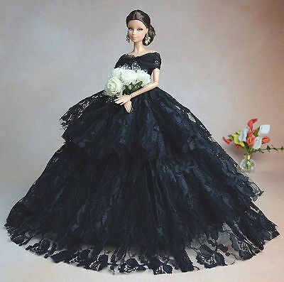 Black Fashion Royalty Princess Party Dress/Clothes/Gown For Barbie Doll S134