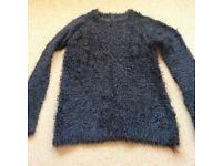 Women's Primark Black Fluffy Jumper Size 8 - 10 or teenage girl