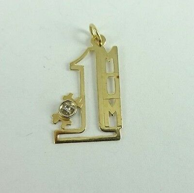 Beautiful 14K Gold #1 MOM Diamond Pendant .5 Grams