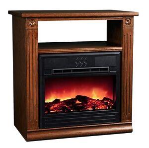 Heat Surge Dark Oak Cozy Electric Fireplace Tv Stand
