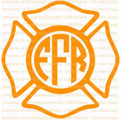 Fireman Custome (Custom Yeti Sized Maltese Cross Monogram Decal Initials Firefighter Fire)