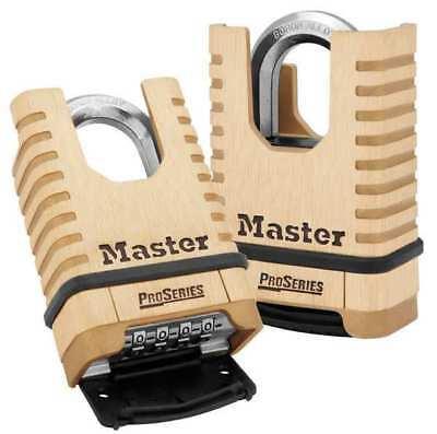 MASTER LOCK Combination Padlock, Bottom, 4 Dial, Brass 1177