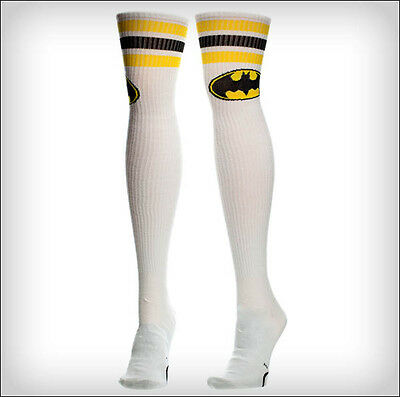 Batman Batgirl Logo DC Comics Costume Long Over The Knee High Boot Socks WHITE