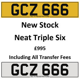 GCZ 666 – Price Includes All DVLA Fees – Cherished Personal Private Registration Number Plate