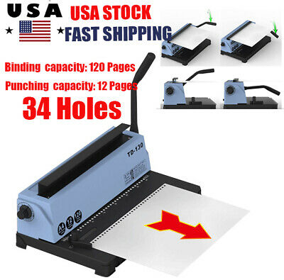 34 Holes Punching Binding Machine All Steel Metal Spiral Coil Binder Puncher