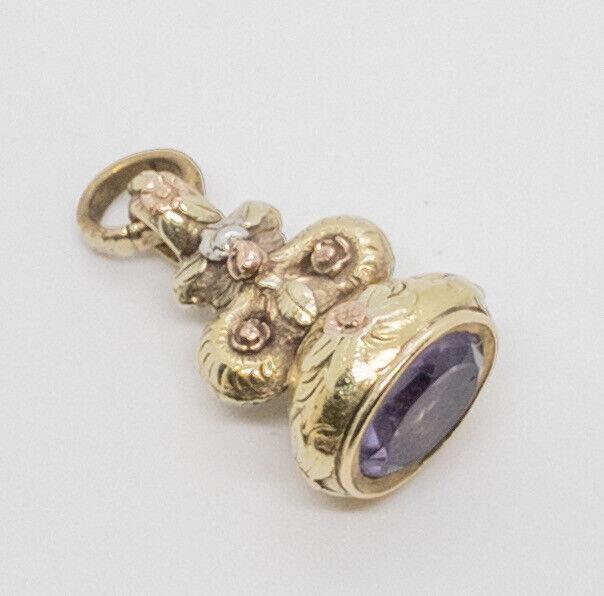 Antique Georgian Amethyst Watch Fob Pendant 18k Yellow Gold