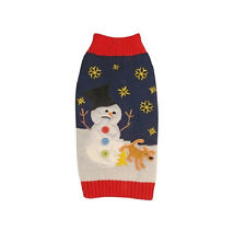 New York Ugly Holiday Sweater for Dog - Navy - XS - S - Snowflake embroidery