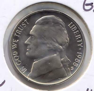 1988 S PROOF JEFFERSON NICKEL   FIVE CENT COIN   UNCIRCULATED   SAN FRANCISCO