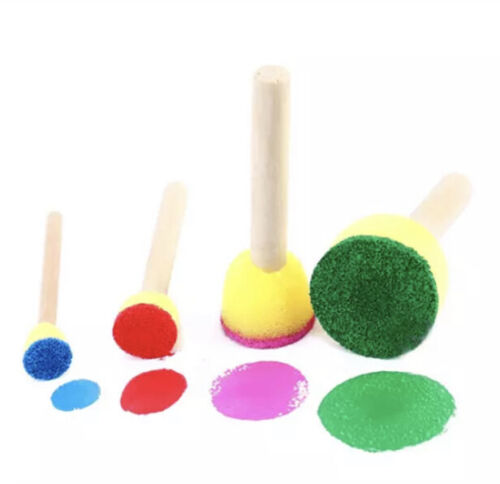 20 Pc Round Sponge Foam Brush Set Wooden Handle Tools for Kids Painting Crafts