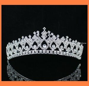 SHINY-CLEAR-RHIESTONE-TIARA-CROWN-WITH-COMBS-PARTY-WEDDING-BRIDAL-PROM-T630S