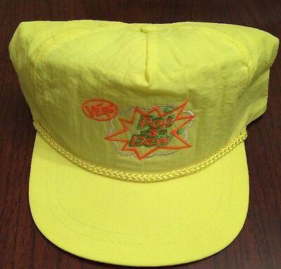 Vintage Vess BRIGHT YELLOW Pop a Dew Soda Snapback Hat - RARE
