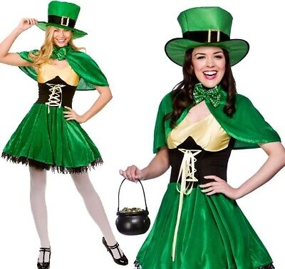 Ladies Lucky Leprechaun Fancy Dress Costume Womens St Patrick's Day Outfit w.](Lucky Lady Costume)