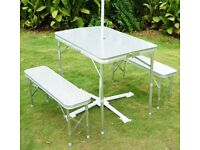 Folding camping table and chairs caravan