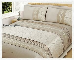 Pintuck Jacquard weave Latte Beige * 3pc KING Quilt Doona Cover Set * Brand New
