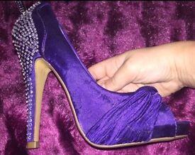 New purple size 3 stiletto high heel shoes