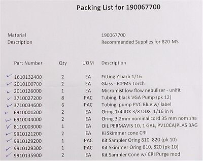 New Recommended Operating Supplies For Bruker 820-ms Machine Pn190067700-cad