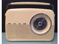 BUSH Vintage Retro Radio FM MW LW Electric And Battery Beige