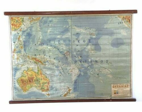 Vintage Political and Geophysical map of Oceania, Classroom chart