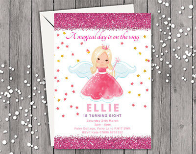 Fairy Princess Birthday Invitations - FAIRY PRINCESS PERSONALISED BIRTHDAY / PARTY INVITATION - GIRL DAUGHTER CLASSY
