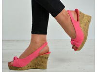 Brand New Peep Toe Ankle Strap Espadrille Wedge Heel Platform Sandals Shoes Size UK 6