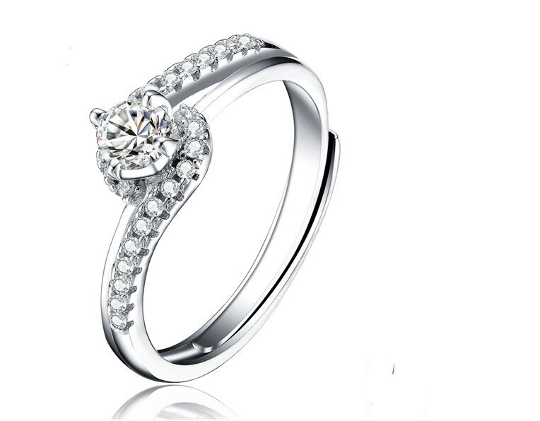 CCJewelry 925 Sterling Silver Zircon Classic Women Promise Adjustable Open Ring Fashion Jewelry