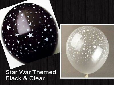12 Black White Stars Star War Balloons Latex Outer Space Galaxy Party - Black And White Party