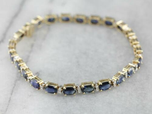 10 Ct Oval Blue Sapphire & Sim Diamond Tennis Bracelet 14k Yellow Gold Plated